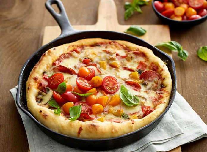 Deep Dish Pizza with Fresh Tomatoes