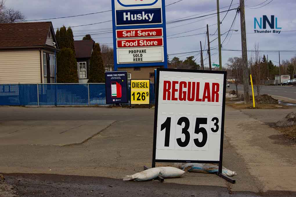 Gas Prices in Thunder Bay are up today.