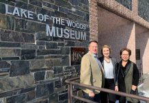 Minister Greg Rickford with Kirsi Ralko, Kenora Councillor, and Lori Nelson, Museum Director, Lake of the Woods Museum