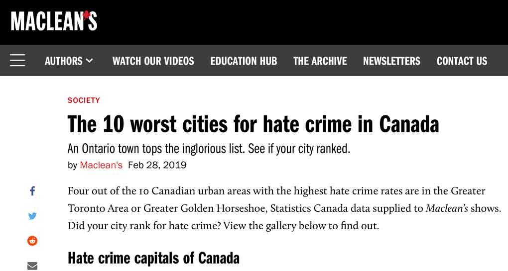 Top Ten Hate Crime Cities