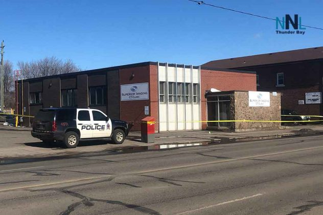 Thunder Bay Police remain at the scene of a North Cumberland Street Homicide