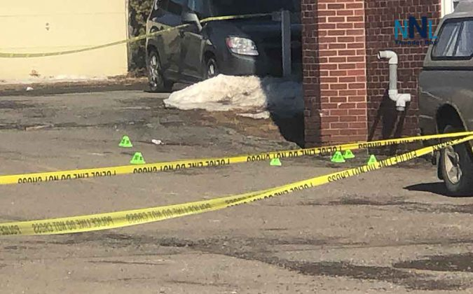 Thunder Bay Police mark sites where evidence is being protected at homicide scene