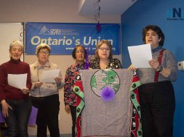 Singing at the International Womens Day Event at OPSEU