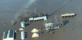 The flooded farm of Richard Oswald is seen in an aerial photo taken near Langdon, Missouri, March 20, 2019. Courtesy of Richard Oswald/Handout via REUTERS.