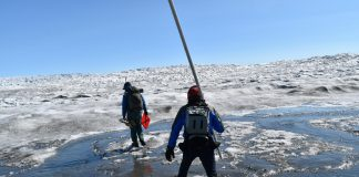 Increasing rainfall over the Greenland ice sheet is driving rapid melting of the surface. Here, researchers cross Greenland's Russell Glacier, July 2018. CREDIT: Kevin Krajick/Earth Institute