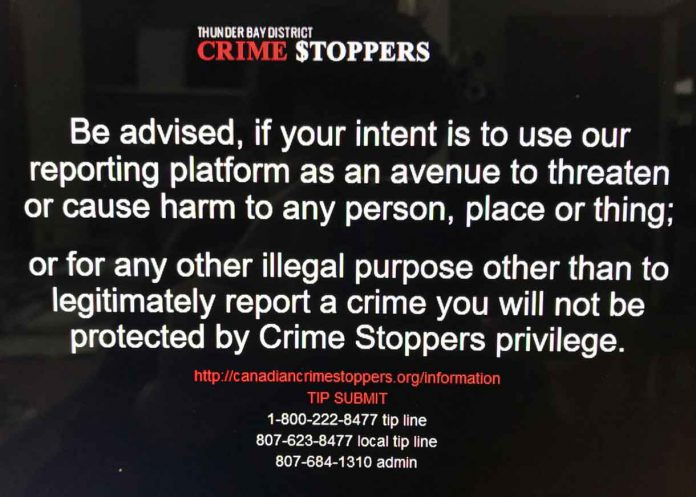New policy at Thunder Bay Crimestoppers