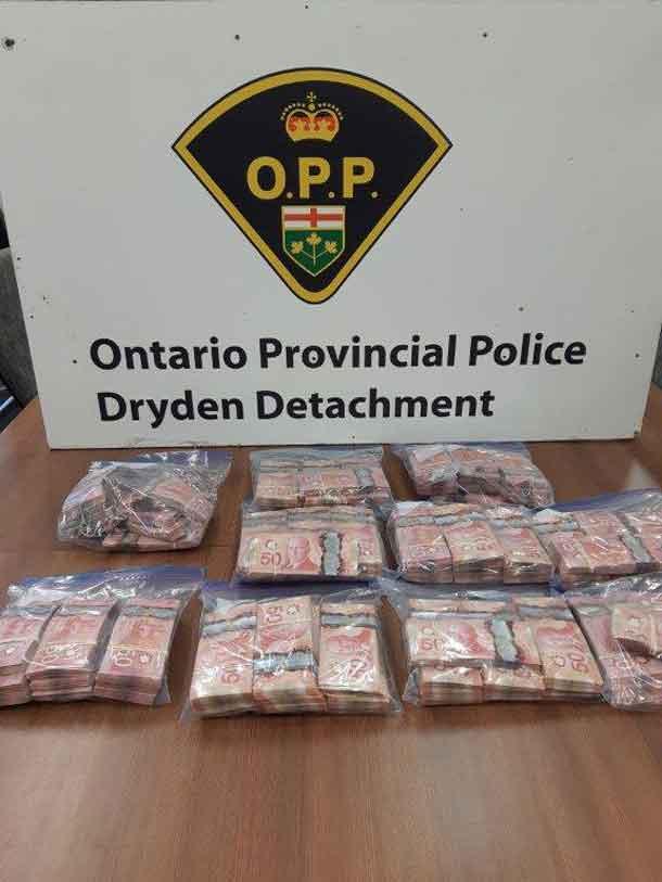 Dryden OPP show cash seized after traffic stop