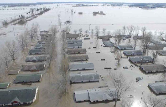 Flooded areas are seen in Bellevue, Nebraska, March 19, 2019. BELLEVUE (NEBRASKA) POLICE DEPARTMENT/via REUTERS