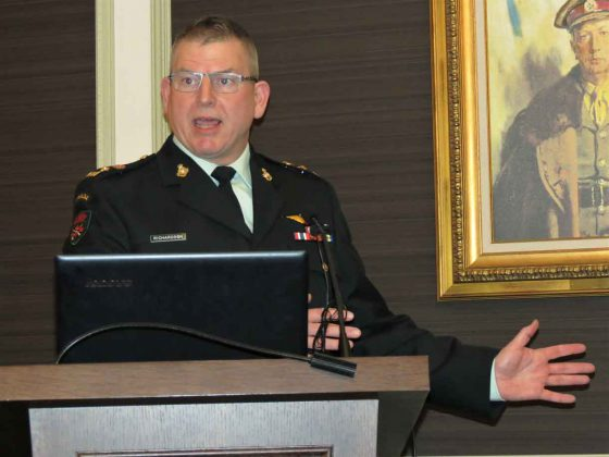 Lieutenant-Colonel Matthew Richardson describes the growth of Canadian Ranger activities in Northern Ontario to defence and security studies conference in Toronto. Photo by Sgt Peter Moon
