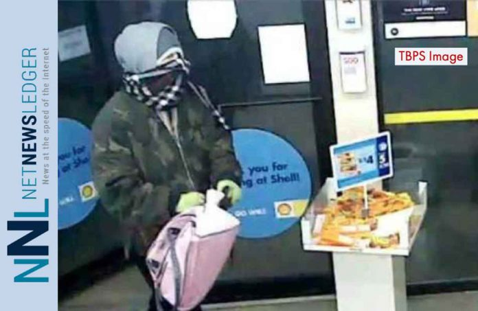 Image of suspect in Shell Gas Bar Robbery - TBPS image