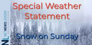 Snow is in the forecast for Sunday in parts of Northwestern Ontario according to Environment Canada