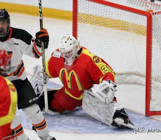 Tristan Roy celebrates Alexandre Doucet's goal as he passes through the crease of Mac's goaltender Jacob Goobie.