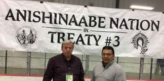 Couchiching First Nation Chief Brian Perrault and Nigigoonsiminikaaning Chief Will Windego