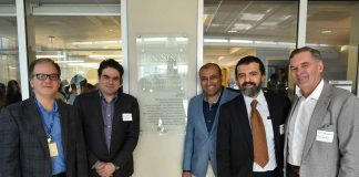 Celebrating the Grand Opening of the brand new Ibn Sina Simulation Lab, funded through the generosity of the Muslim Physicians who donated $500,000 to make this learning space come to life are, from left to right, Dr. Hassan Hassan, Dr. Walid Shahrour, Dr. Syed Zaki Ahmed, Dr. Yasser Labib and Dr. Stewart Kennedy. The Lab is named after Ibn Sina, a Muslim Physician, Astronomist and Philosopher, who was a father of early modern medicine.