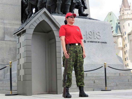 Master Corporal Paula Nakogee stands on guard at the Tomb of the Unknown Soldier