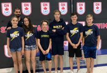 left to right Mckenzie Thompson, Coach Tommaso Panizza, Kaitlyn Luu, Matthew Foulds, Luke Foulds, Sam Chisholm and Fischer Jackson