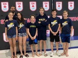 left to right Mckenzie Thompson, Coach Tommaso Panizza, Kaitlyn Luu, Matthew Foulds, Luke Foulds, Sam Chisholm and Fischer Jackson