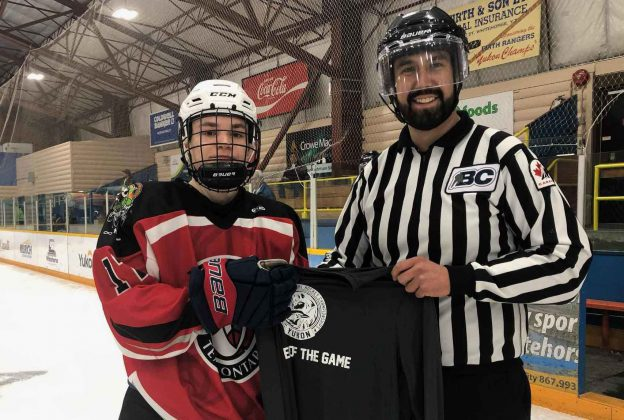 photo by Karee Vallevand, NAHC Tanner Flood recieves 'Player of the Game' during the National Aboriginal Hockey Championships in Whitehorse, Yukon.