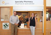 Dr. Stewart Kennedy, EVP Medical, Academics, & Regional Programs at the Hospital and Dr. Nicole Laferriere, Chief of Oncology and Medical Director at Regional Cancer Care Northwest joined other Hospital staff to give media a first-hand look at the unique services provided by the Specialty Pharmacy.