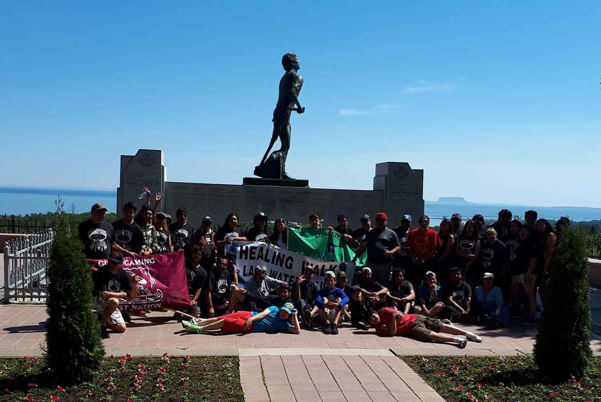 The Spirit Walkers arrived at the Terry Fox Lookout to complete their day