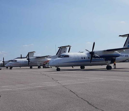 Sioux Lookout is the Hub community for the aircraft, here North Star Air, Perimeter Air and Wasaya Airways aircraft are lined up in Sioux Lookout - Image North Star Air