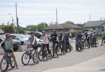 Grade 6 students at Edgewater Park Public School prepare to go on a group ride.