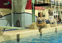 Camper Lilly showing off her skills on the diving board.