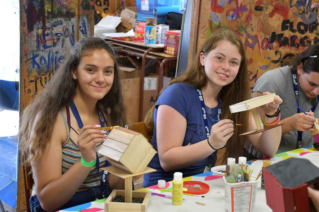 Campers Angelina and Katelyn crafting up a storm in the Craft Shack