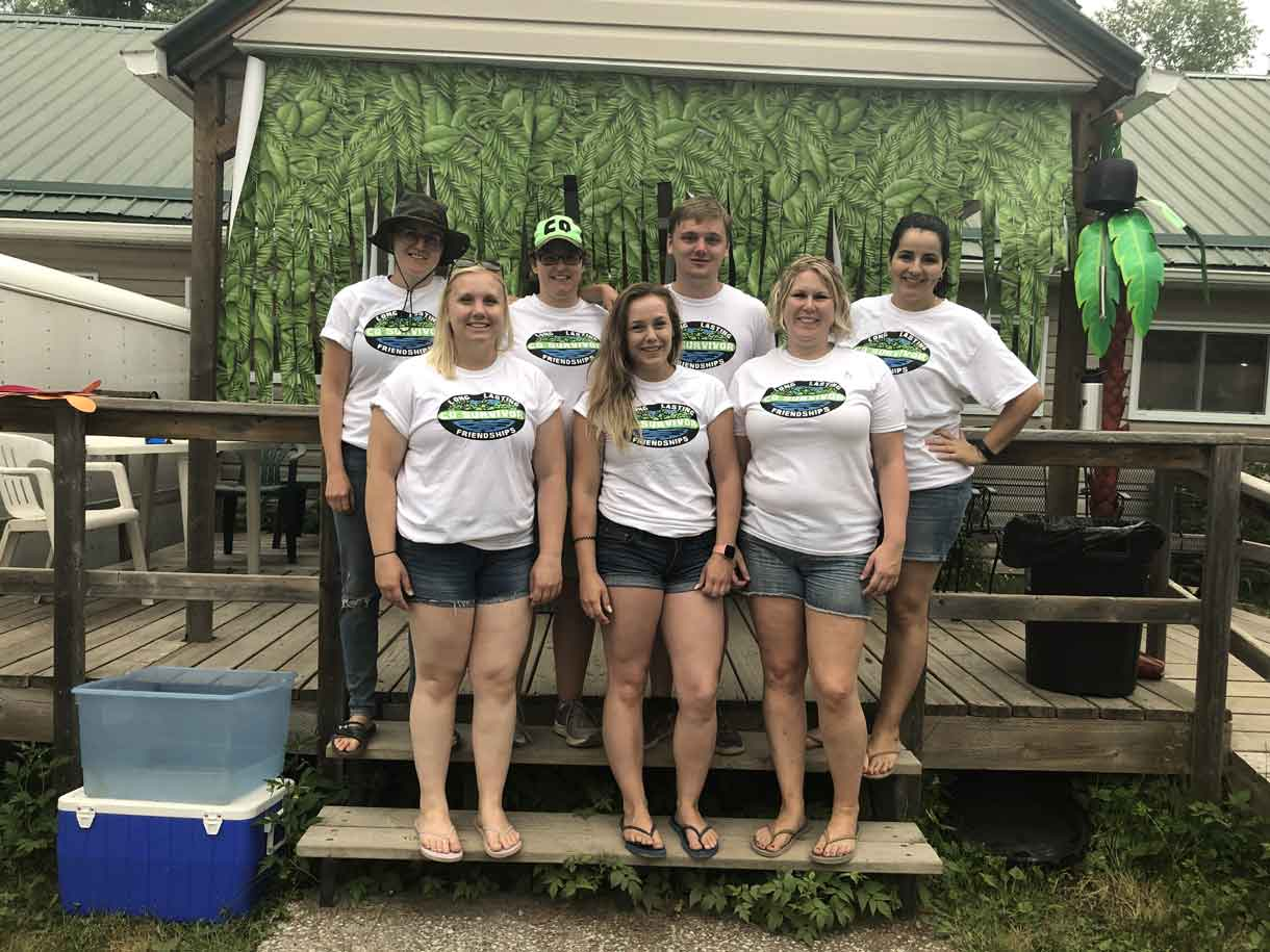 Volunteers sported custom-made tees highlighting their long lasting friendships courtesy of CQ. Back from left, Kelsey, Meg, Braeden and Rosa. Front from left, Tori, Jaimie and Ashleigh