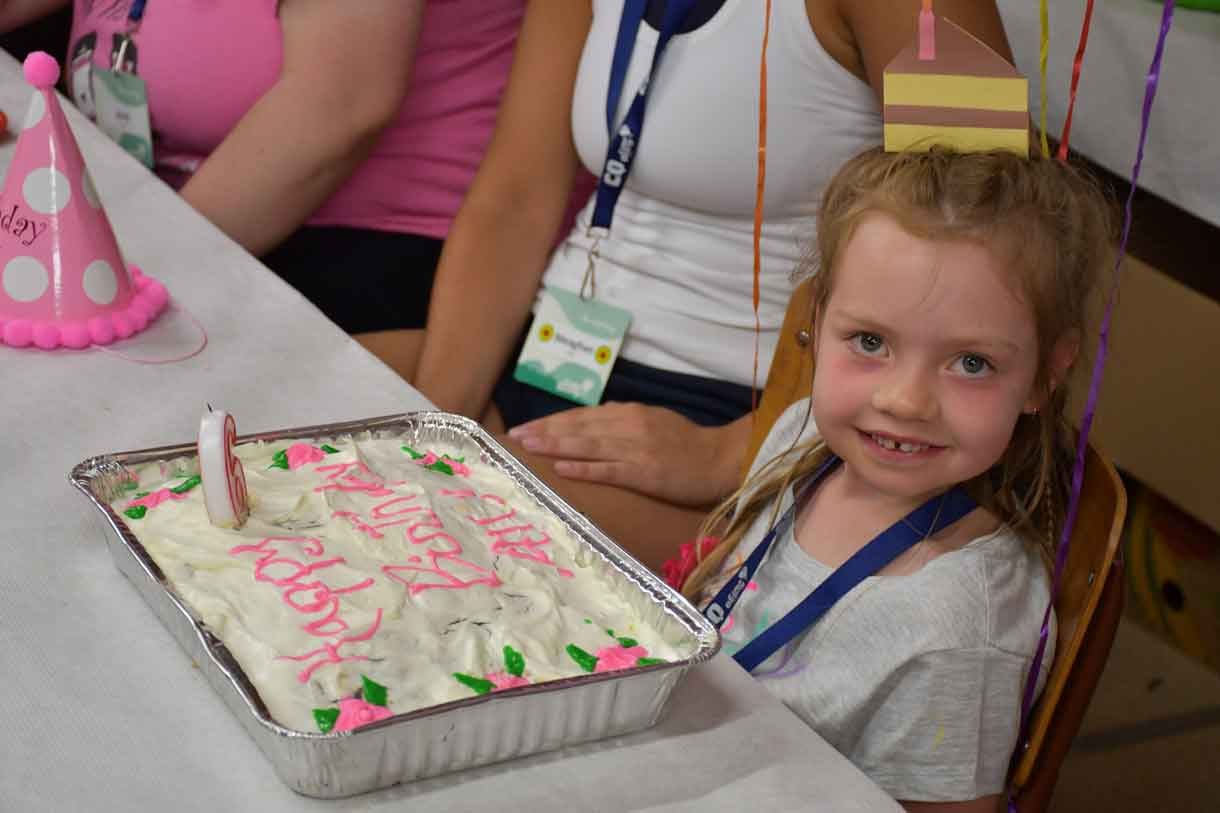 Camper Ally with her specially made birthday cake. Happy Birthday, Ally!