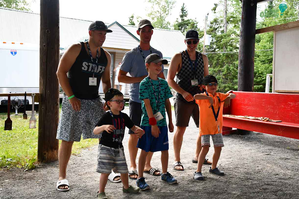 The boys from Cabin 10 show off their dance moves in their skit. Back row, from left: Volunteers Brett, Cole and Brady. Front row, from left: Campers Parker, Ryder and Hunter.