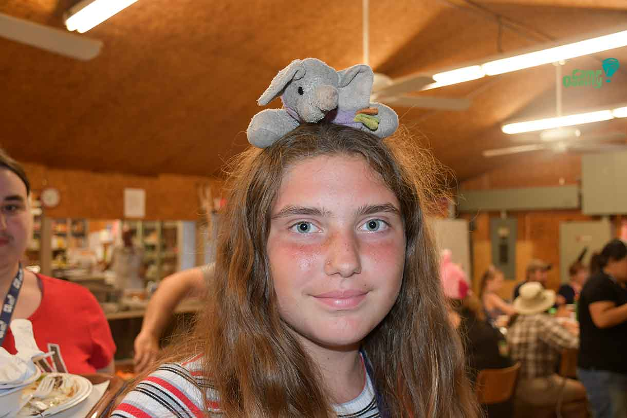 Camper Addisyn sporting a great safari-themed headpiece with an elephant