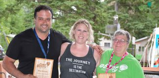 Vince Mirabelli (left) and Karen Miller (right) were presented with the Volunteer Extraordinaire Award by Camp Director Ashleigh.