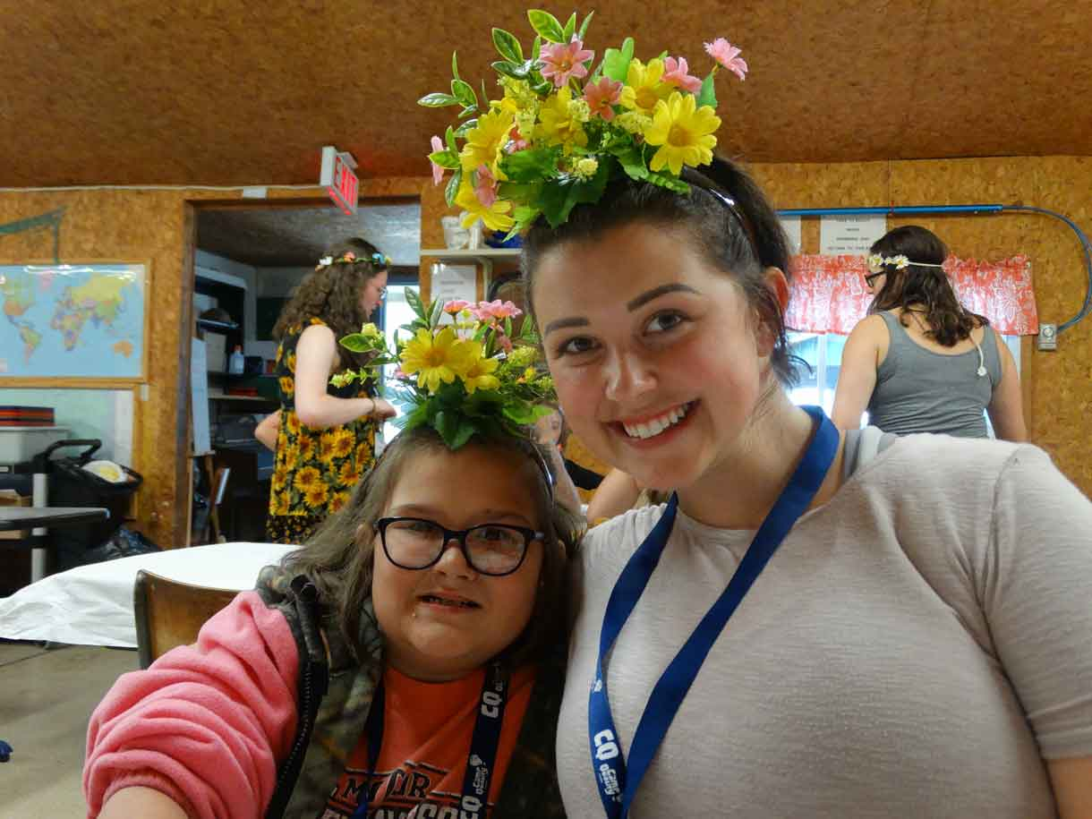 Camper Sammy with her Companion Victoria sporting their beautiful flower crowns!