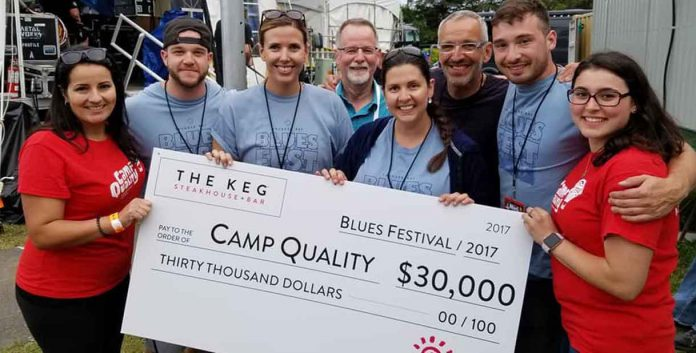 Members of The Keg presented $30,000 to Camp Quality Northwestern Ontario at last year's Blues Festival for the proceeds of the 2017 event. From left, Camp Quality's Rosa Carlino, The Keg's Nathan Difranco, Heather Sutherland, Bob Stewart, Tricia Del Paggio, Tom Pazianos and Joe Willis, and Camp Quality's Sam Stovel.