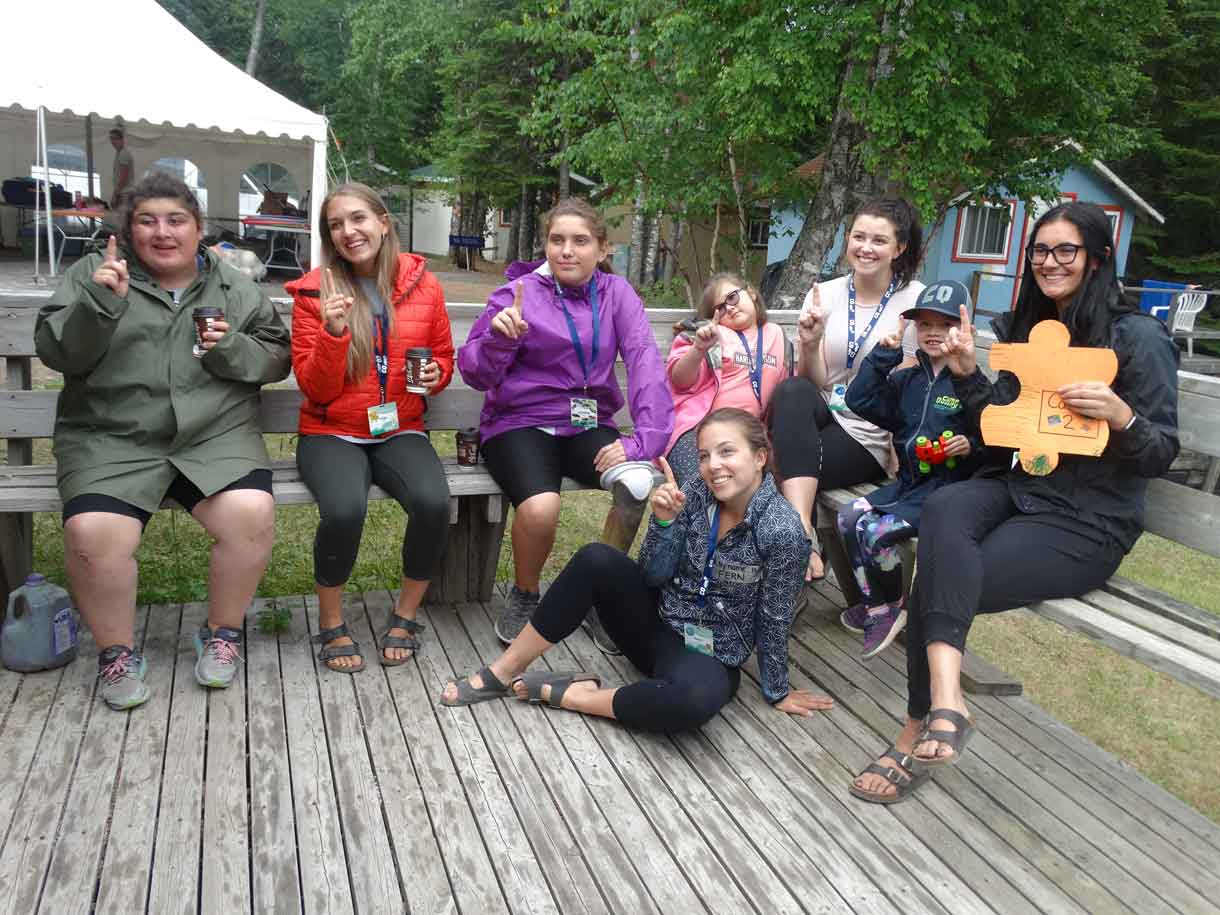 Cabin 3 celebrating their scavenger hunt win!