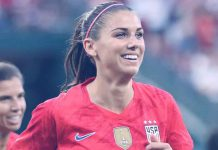Alex Morgan during the USWNT friendly against New Zealand on May 16, 2019, in St. Louis