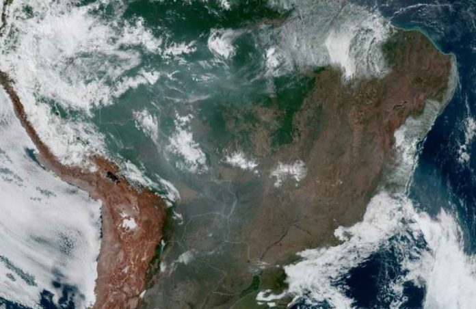 Fires, burning in the Amazon Rainforest, are pictured from space, captured by the geostationary weather satellite GOES-16 on August 21, 2019 in this handout image obtained from social media. NASA/NOAA/Handout via REUTERS