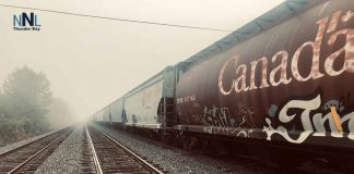 Railways cars and fog in Thunder Bay