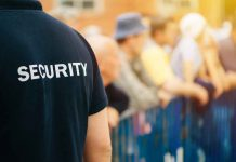 Member of security guard team working on public event