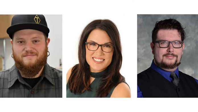 Confederation College alumni Al Bourbouhakis (left), Melissa Hardy-Giles and Thomas McDonald will receive the College's 2019 President's Award