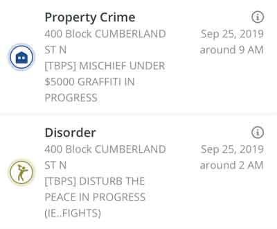 Crime map of Incidents