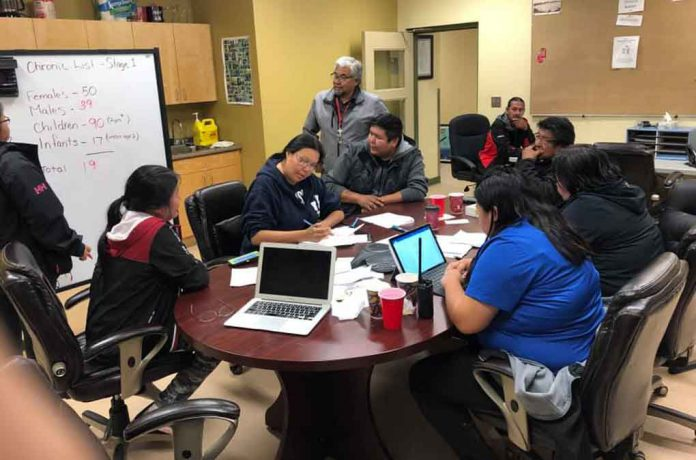 Neskantaga Council members and community workers in meeting over water emergency - Image courtesy of Chief Moonias