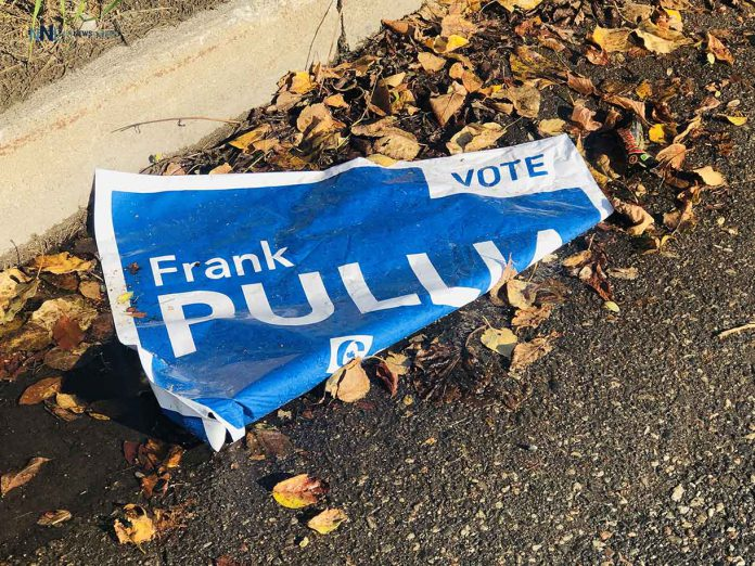 Vandalized sign for Conservative Candidate Frank Pullia