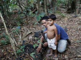 Vinicius Dos Santos, who is threatened by loggers and stockbreeders, shows his son an acai palm tree at the Virola-Jatoba Sustainable Development Project (PDS) in Anapu, Para state, Brazil, September 5, 2019. REUTERS/Nacho Doce
