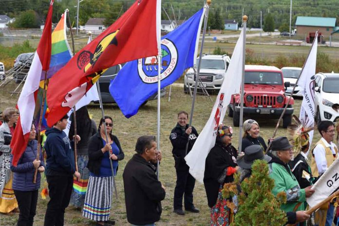 photo submitted by Mattagami Pow Wow THE GRAND ENTRY is pictured here at the start of the Ninth Annual Mattagami First Nation Pow Wow which was held September 14 and 15 in the community.