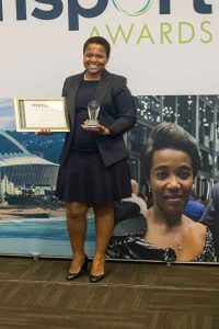 Nogolide Ntshebe, Transformation and Reporting Specialist for Bombardier Transportation in South Africa, was honoured at the third annual Women in Transport Awards.