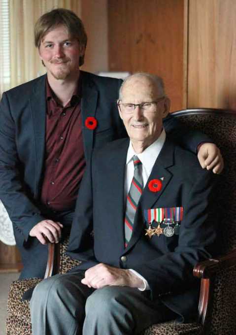 Second World War amputee veteran Lloyd Brown shares a special bond and Remembrance Day tradition with Sean Borle.