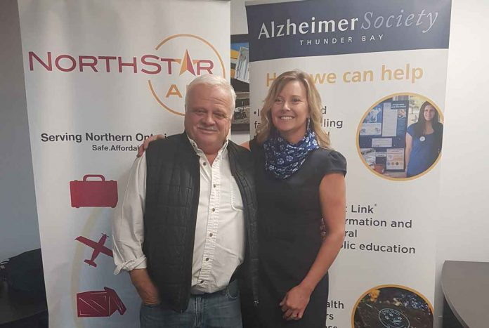 North Star Air's Frank Kelner with Alzheimer's Thunder Bay's Lucy Black