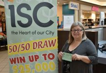 Cindy Lou Luhtala won last year's Intercity 50/50 Cash Draw, and was on hand to buy the very first ticket to this year's draw! The draw supports the Our Hearts at Home Cardiovascular Campaign, bringing full cardiovascular surgery to Thunder Bay and Northwestern Ontario. Tickets are $5 each or 3 for $10!